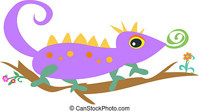 Lizard Branch - Here is a colorful purple Lizard walking on...