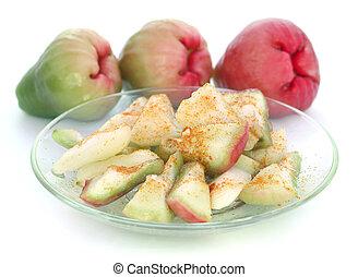 cortado, água, maçã, ou, rosÈ,...