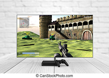 videogame television with console and gamepad