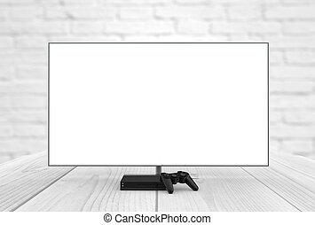 videogame mock-up - empty television screen with game...