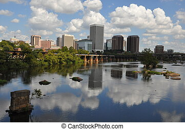 View of Richmond, Virginia from the Belle Isle Bridge