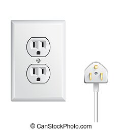 electrical power socket - electrical outlet in the USA,...