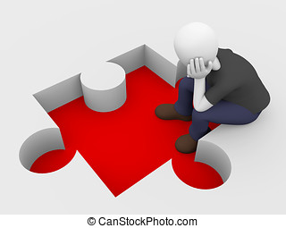 Puzzle problem - Sitting man thinks about a solution for his...