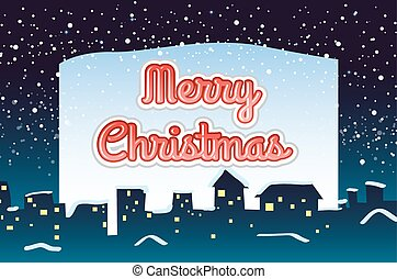 Christmas card with snow falling background