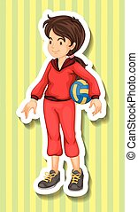 Woman in jumpsuit holding volleyball illustration