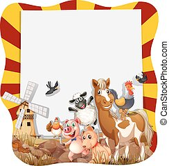Farm animals around the frame illustration