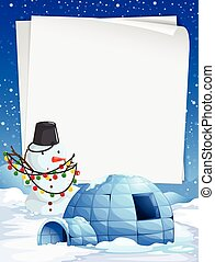 Blank paper with Christmas theme background illustration