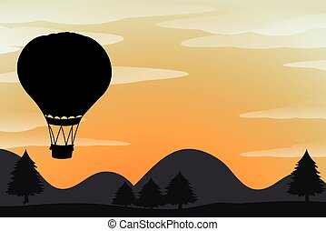 Silhouette balloon flying in the sky
