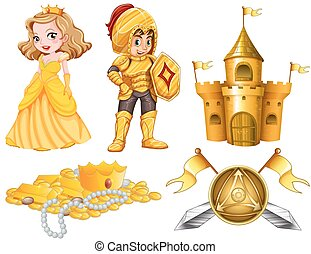 Fairytales set with knight and princess illustration