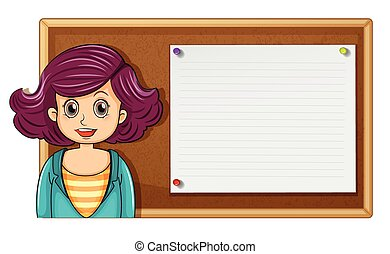 Female teacher and wooden board illustration