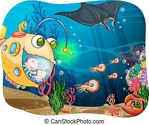 Children in submarine under the ocean