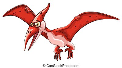 Red dinosaur flying on white illustration