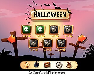 Screensaver of halloween theme game illustration