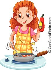 Woman cooking with a pan