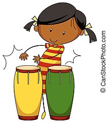 Little girl playing drums illustration