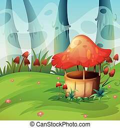 Mushroom will in the field illustration