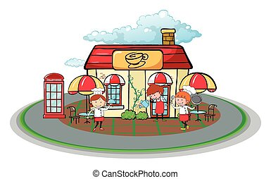 Waiter and waitress in front of cafe illustration