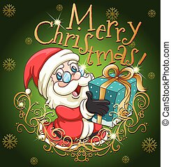 Merry Christmas poster with Santa and gift