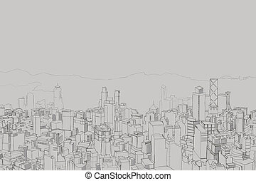 Picture of big city from a height, panorama takes in the...