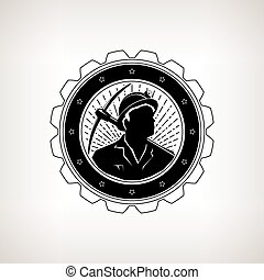 Miner with Pick Axe, Vintage Emblem - Miner in the Helmet...