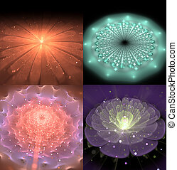 illustration of a set of fractals fantastic bright shiny...