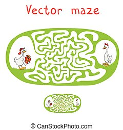 Vector Maze, Labyrinth with ducks - Vector Maze, Labyrinth...