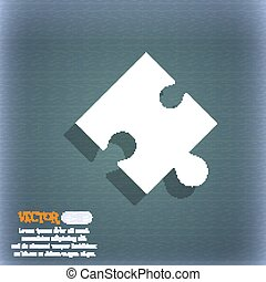 Puzzle piece icon sign. On the blue-green abstract background with shadow and space for your text. Vector