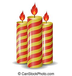 Red Yellow Wax Candles Set - Red Yellow Wax Candles Isolated...