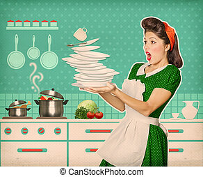 Clumsy attractive woman falling plates and dishes in her...
