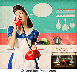 Young woman overlooked roast chicken in an oven - Retro...