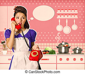 Retro woman talking on phone in her kitchen interior - Retro...