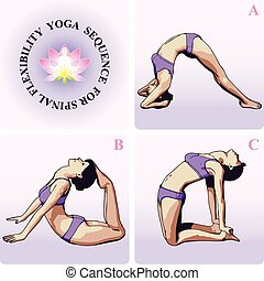 YOGA Sequence for Spinal Flexibility - Graphic Illustration...