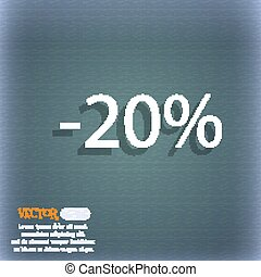 20 percent discount sign icon. Sale symbol. Special offer label. On the blue-green abstract background with shadow and space for your text. Vector