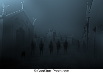 Night of the ghost - Diffuse entities walking on a street...