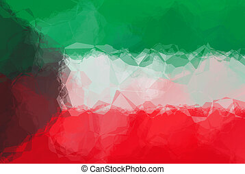 Kuwait flag - triangular polygonal pattern