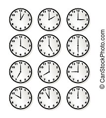 Clocks - A collection of clocks each marking a different...