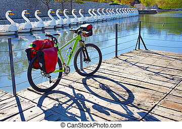 MTB Bicycle touring bike in a park with pannier - MTB...