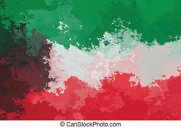 Kuwait flag - grunge design pattern