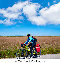 MTB Biker Bicycle touring with pannier racks - MTB Biker...