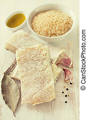 codfish with rice, olive oil and garlic
