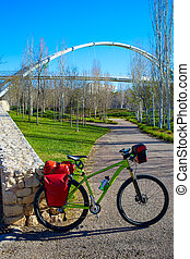 Bicycle touring bike in Valencia Cabecera park - MTB Bicycle...