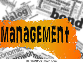Word cloud with management word on yellow and red banner -...