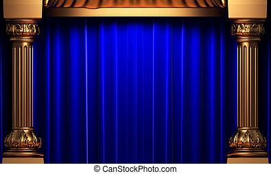 blue velvet curtains behind the gold columns