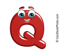 cartoon character of Q - 3d rendered illustration of cartoon...