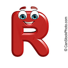 cartoon character of R - 3d rendered illustration of cartoon...