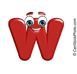 cartoon character of W - 3d rendered illustration of cartoon...