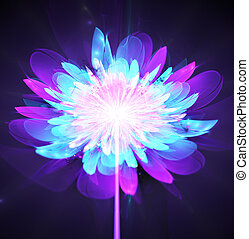 Illustration fractal glowing background bright flower on a...