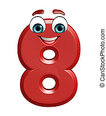cartoon character of eight digit - 3d rendered illustration...