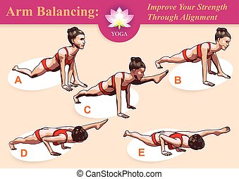Yoga Arm Balancing - Illustrated step-by-step instruction...