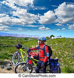 ciclismo, turista, Ciclista, en, Pedralba, VALENCIA, con,...